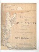 Vingt exercices extraits de la méthode de, harpe et doigtés pour la harpe chromatique par Lucile Delcourt