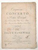 Cinquième concerto à violon principal, deux violons, deux alto, basse, flûte, deux bassons, deux hautbois et deux cors... [en mi min.]
