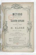 Método elemental para saxofón-soprano si bemol, para bandas y colegios, por H. Klosé