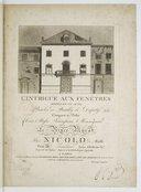 L'Intrigue aux fenêtres, opéra en 1 acte, paroles de Bouilly et Dupaty, composé par Nicolo de Malthe