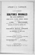 """Atelier J.-B. Carpeaux. Catalogue de sculptures originales par J.-B. Carpeaux, terres cuites, plâtres, bronzes, marbres, parmi lesquels """"La Danse"""", groupe original en terre cuite, """"Ugolin et ses enfants"""", groupe original..."""