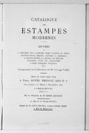 Catalogue des estampes modernes : oeuvres de A. Besnard, Eug. Carrière, Mary Cassatt... [et al.], composant la collection de M. Georges Viau... vente... 6-7 décembre 1909... / [expert] Loys Delteil