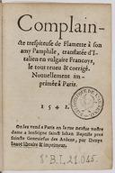 Complaincte très piteuse de Flamette à son amy Pamphile, par Boccace, translatée d'Italien en vulgaire, françois, le tout revu et corrigé