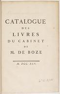 Catalogue des livres du cabinet de M. de Boze