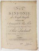 N° [3]. Sinfonie... opera 80 arrangés pour le piano forte, avec accompagnement de flute, violon et basse par Lachnitt....