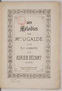 Vingt Mélodies... sur les sonnets de Adrien Dézamy