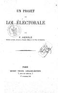 Un projet de loi électorale