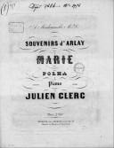 Marie : souvenirs d'Arlay : polka pour piano / par Julien Clerc