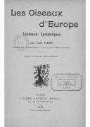 Les oiseaux d'Europe : tableaux synoptiques / par Paul Paris,... ; dessins de Maurice Dessertenne