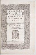 Raccolta d'Arie spirituali a una due e tre voci di diversi eccellentissimi autori, raccolte e date in luce, da Vincenzo Bianchi