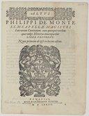 PHILIPPI DE MONTE // S. C. CAPELLAE MAGISTRI // Sacrarum Cantionum cum quinque vocibus // quae vulgo Motetta nuncupantur // LIBER SECVNDVS. // Nunc primum ab-ipso in lucem aeditus. [Vignette] VENETIIS, // APVD HYERONYRVM...