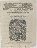 IOHANNIS PETRALOYSIII // PRAENESTINI // Motettorum quae partim Quinis, partim senis, // partion octonis vocibus concinantur, // LIBER TERTIVS // Nunc primum in Lucem seditus. // CVM PRIVILEGIO. // [Vignette] // VENETIIS //...