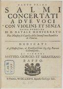 Salmi concertati a due voci con violini et senza. Opera undecima...