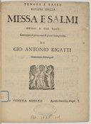 Messa e Salmi ariosi a tre voci concertati, e parte con li ripieni a beneplacito... novamente ristampati