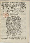 IL PRIMO LIBRO // delle canzoni à cinque voci // DI GIROLAMO CONVERSI // DA CORREGGIO, // Nouamente ristampate. //[Marque de Scotto]//IN VINEGIA,//Appresso l'Herede di Girolamo Scotto. M D LXXX //