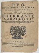 Duo di Cristoforo Caresana, organista della real cappella...[op. 1, libro primo-secondo]