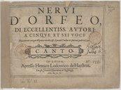 Nervi d'Orfeo, di eccellentiss[imi] autori, a cinque et sei voci, nuovamente con ogni diligentia raccolti, et sequendo l'ordine de' suoi toni posti in luce