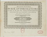 Musica divina di XIX. autori illustri, a IIII. V. VI. et VII. voci, nuovamente raccolta da Pietro Phalesio, et data in luce. Nella quale si contengono i più eccellenti madrigali che hoggidi si cantino