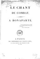 Le chant du combat, à Bonaparte