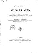 Le mariage de Salomon , par M. Dureau de la Malle,... musique de M. Cherubini,...