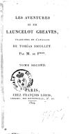 Les aventures de Sir Launcelot Greaves. Tome 2 / , traduites de l'anglais de Tobias Smollet, par M. de F***