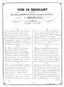 Vivre en travaillant, chanson dédiée par Carpentras aîné à la Société des ouvriers peintres dont il fait partie à Montpellier