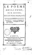 Le poème de la nuit , de M. Gessner, mis en vers françois. Par M. M***,...