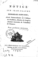 Notice sur Jean-Claude Richard de Saint-Non ; abbé commendataire de l'abbaye de Pouttières ... par Gabriel Brizard