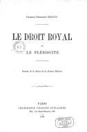 Droit royal et le plébiscite