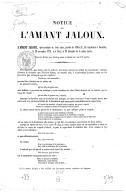 """Notice sur l'Amant jaloux : [extrait des """"Mémoires"""" de Grétry]"""