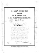 A mon épouse décédée le 8 juillet 1858, à la Varenne-Saint-Maur, âgée de 67 ans / Signé : Carpentras