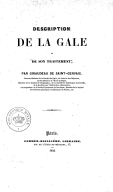 Description de la gale et de son traitement, par Giraudeau de Saint-Gervais,...