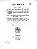 Discours prononcé dans le temple de la rue Ste-Avoye, le dimanche 25 décembre 1808, lors de la célébration de la fête de la reddition de... Madrid , par M. S. Sègre,... suivi d'une prière composée en hébreu, par M. D....