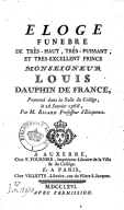 Éloge funèbre de... Louis, dauphin... prononcé dans la salle du collège, le 28 janvier 1766 , par M. Ricard,...