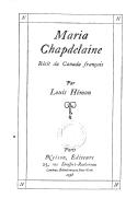 Maria Chapdelaine : récit du Canada français / par Louis Hémon