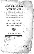 Image from object titled Recueil intéressant, sur l'affaire de la mutilation du crucifix d'Abbeville, arrivée le 9 août 1765 , & sur la mort du chevalier de La Barre, pour servir de supplément aux Causes celebres