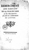 Remercîment des habitans de la ville de Paris à Sa Majesté, au sujet de l'achèvement du Louvre