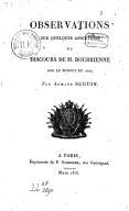 Observations sur quelques assertions du discours de M. Bourrienne sur le budget de 1816, par Armand Séguin