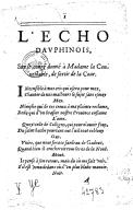 L'écho Dauphinois sur le congé donné à Madame la Connestable de sortir de la cour