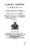 L'amant-arbitre , comédie en un acte et en vers, par Ségur le jeune...