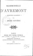 Mademoiselle d'Avremont ; Monsieur Margerie / par Henri Rivière