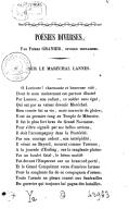 Poésies diverses, par Pierre Granier,... Sur le maréchal Lannes
