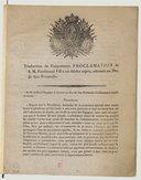 Traduction de l'importance proclamation de S. M. Ferdinand VII à ses fidèles sujets , adressée au duc de San Fernando