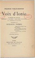 Voix d'Ionie ; précédées de quelques poèmes (2e édition) / Francis Vielé-Griffin
