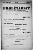 Prolétariat : revue mensuelle / rédacteur en chef : Henry Poulaille