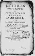 """Lettres historiques et philologiques du comte d'Orreri, sur la vie et les ouvrages de Swift , pour servir de supplément au """"Spectateur moderne"""" de Steele"""