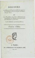 Discours sur le retour de Napoléon le Grand... prononcé le jour de Pâques, 26 mars 1815, et sur l'excellence de l'acte additionnel aux Constitutions de l'Empire , prononcé le jour de l'Ascension, 4 mai 1815, par M....