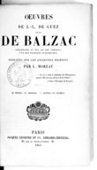 Oeuvres de J.-L. de Guez, sieur de Balzac,.... T. 1 / publiées sur les anciennes éditions par L. Moreau