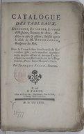 Catalogue des tableaux, desseins, estampes, livres d'histoire, sciences & arts, modèles en cire & plâtre, laissés après le décès de M. Bouchardon, sculpteur du roi. Dont la vente se fera dans le mois de novembre 1762... /...