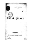 Edgar Quinet : conférence faite à l'Université populaire de Lyon / Henry Michel